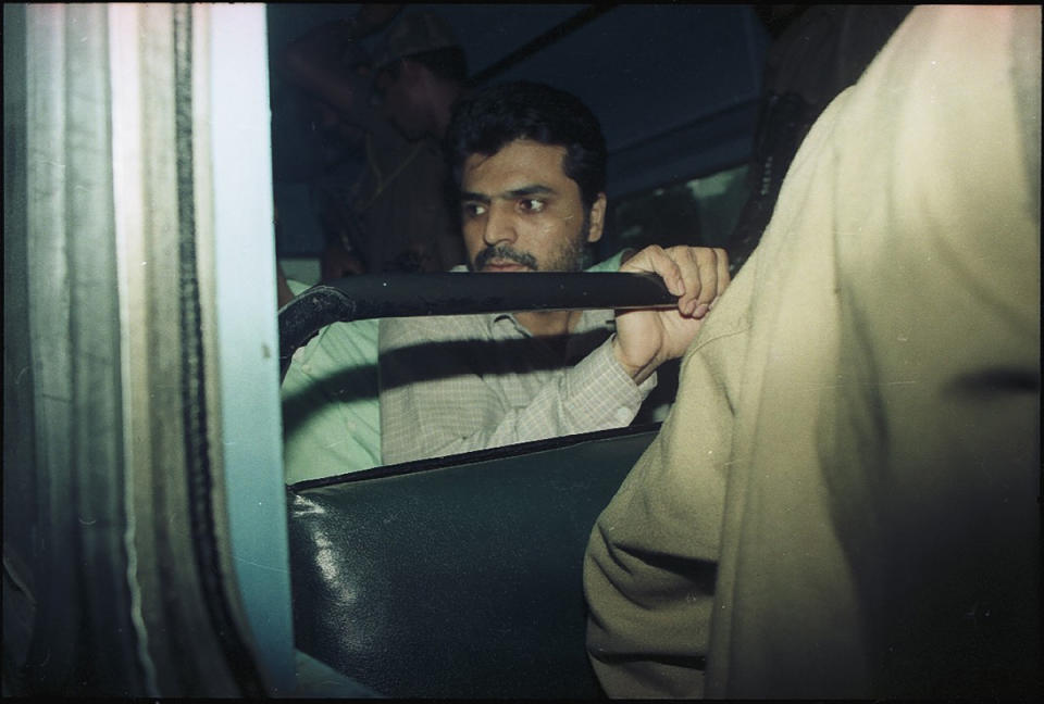 (File photo) Prime suspect of the 1993 Mumbai bomb blasts case Yakub Abdul Razak Memon being produced at Patiala House Court on August 17, 1994 in New Delhi. Yakub is accused of financially assisting his brother and prime accused Tiger Memon and Dawood Ibrahim in planning and executing the bombings. (Photo by HC Tiwari/Hindustan Times via Getty Images)