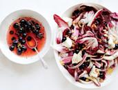 """Crunchy, bitter, acidic, juicy: If these words don't make you think of salad, this gorgeous dish is about to expand your vocabulary. <a href=""""https://www.bonappetit.com/recipe/radicchio-salad-with-pickled-grapes-and-goat-cheese?mbid=synd_yahoo_rss"""" rel=""""nofollow noopener"""" target=""""_blank"""" data-ylk=""""slk:See recipe."""" class=""""link rapid-noclick-resp"""">See recipe.</a>"""