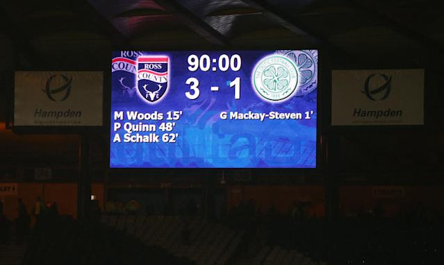 GLASGOW, SCOTLAND - JANUARY 31: The scoreboard shows the final score at full time during the Scottish League Cup Semi final match between Ross County and Celtic at Hampden Stadium on January 31, 2016 in Glasgow, United Kingdom. (Photo by Ian MacNicol/Getty images)