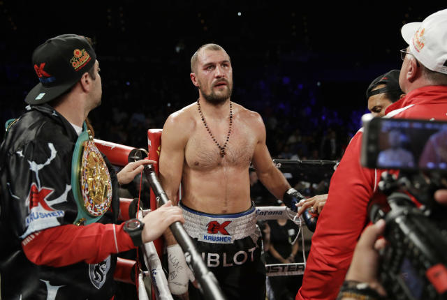 Sergey Kovalev reacts after losing to Andre Ward in on June 17. (AP Photo/John Locher)
