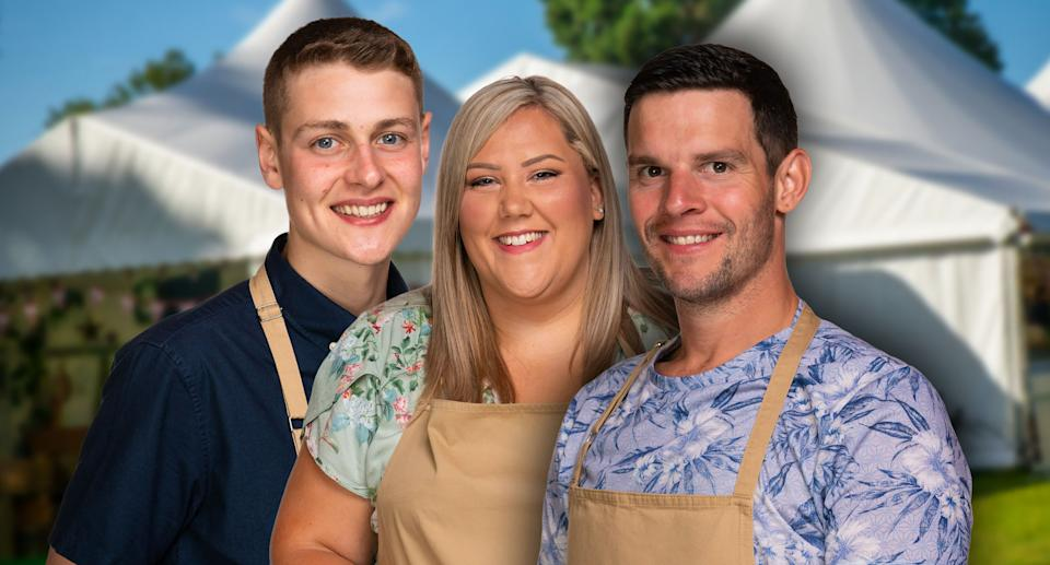 Peter, Laura and Dave have made it to the 'Bake Off' final. (Mark Bourdillon/Channel 4)