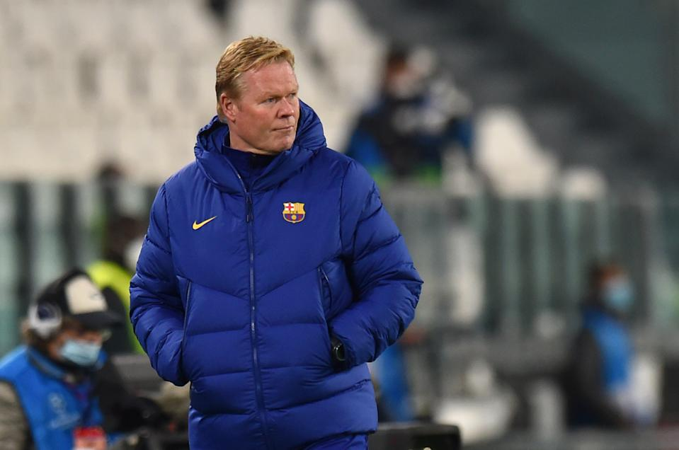 TURIN, ITALY - OCTOBER 28: Ronald Koeman, Head Coach of Barcelona look on during the UEFA Champions League Group G stage match between Juventus and FC Barcelona at Juventus Stadium on October 28, 2020 in Turin, Italy. Sporting stadiums around Italy remain under strict restrictions due to the Coronavirus Pandemic as Government social distancing laws prohibit fans inside venues resulting in games being played behind closed doors. (Photo by Tullio Puglia - UEFA/UEFA via Getty Images)