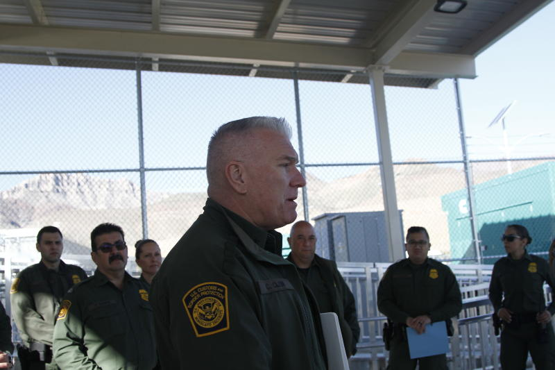 Deputy Chief Patrol Agent El Paso Sector Chris Clem, from the U.S. Customs and Border Protection, speaks to reporters during a tour of an immigration holding facility, Tuesday, Feb. 25, 2020, at the base of the Franklin Mountains in El Paso, Texas. The complex of modular buildings can house and process 1,040 and will replace tents hastily erected for processing last spring.  (AP Photo/Cedar Attanasio)