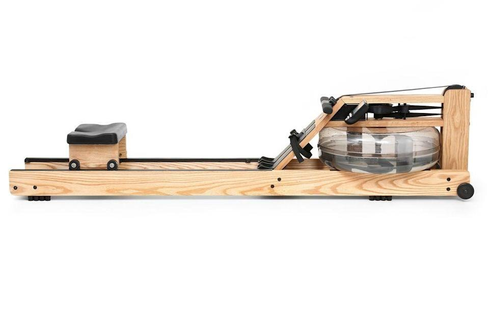"""<p><strong>WaterRower </strong></p><p>waterrower.com</p><p><strong>$1095.00</strong></p><p><a href=""""https://www.waterrower.com/us/natural-rowing-machine.html"""" rel=""""nofollow noopener"""" target=""""_blank"""" data-ylk=""""slk:Shop Now"""" class=""""link rapid-noclick-resp"""">Shop Now</a></p><p> This rowing machine is so aesthetically pleasing that the Museum of Modern Art actually sells it in its gift shop—seriously! But it's not just pretty to look at. It's built for performance thanks to its """"water flywheel,"""" which mimics the feel of actually rowing a boat. </p><p><strong>Reviewer rave: </strong>""""I love my WaterRower! We found it back in 2015 and made the plunge to get healthy with an aesthetically pleasing piece of equipment! I have no background in rowing but did lift weights in college so I was familiar with 'rowing' as an exercise. Three years later, our machine is still going strong and has had no issues or squeaks or leaks! I utilized it to lose my 30 pounds of pregnancy weight last year and it was an awesome experience! I really looked forward to rowing each day and trying to meet or beat my personal times. The swishing sounds of the water is very quiet, soothing, and actually satisfying!""""</p>"""
