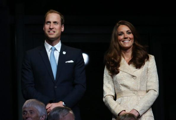 LONDON, ENGLAND - AUGUST 29: (L-R) Prince William, Duke of Cambridge and Catherine, Duchess of Cambridge look on during the Opening Ceremony of the London 2012 Paralympics at the Olympic Stadium on August 29, 2012 in London, England. (Photo by Dan Kitwood/Getty Images)