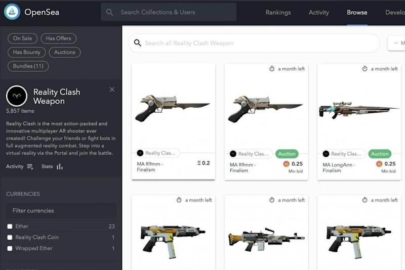 Reality Clash weapons can now be traded on OpenSea