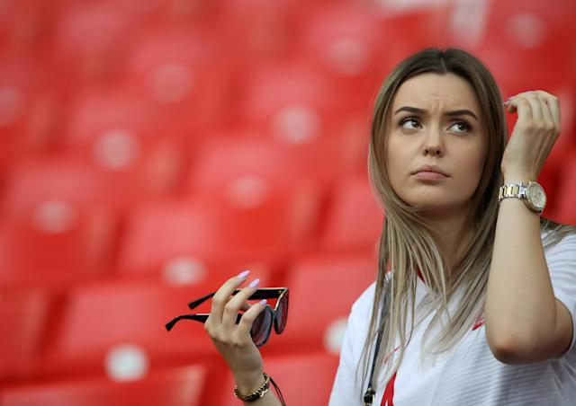 Soccer Football - World Cup - Group H - Poland vs Senegal - Spartak Stadium, Moscow, Russia - June 19, 2018 Poland's Lukasz Teodorczyk partner, Natalia Truszczynska inside the stadium before the match REUTERS/Carl Recine