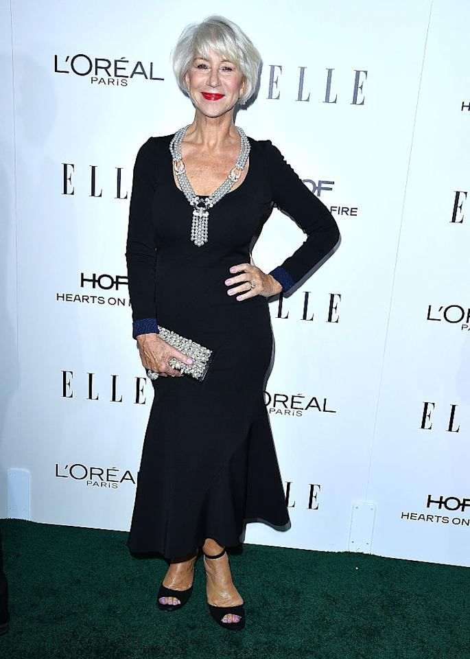 <p>The amazing 71-year-old actress showed off her curves in a formfitting, long-sleeved black dress on the ELLE Women In Hollywood Awards red carpet. <i>(Photo by Steve Granitz/WireImage)</i> </p>