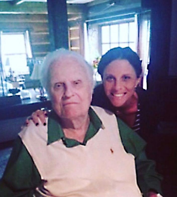 Jerushah Duford and grandfather Billy Graham in Montreat, North Carolina, in 2016.