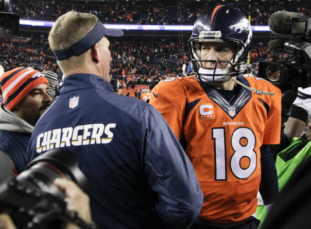 Denver Broncos quarterback Peyton Manning (18) greets San Diego Chargers coach Mike McCoy at midfield after the Chargers beat the Broncos 27-20 in an NFL football game, Thursday, Dec. 12, 2013, in Denver. (AP Photo/Joe Mahoney)