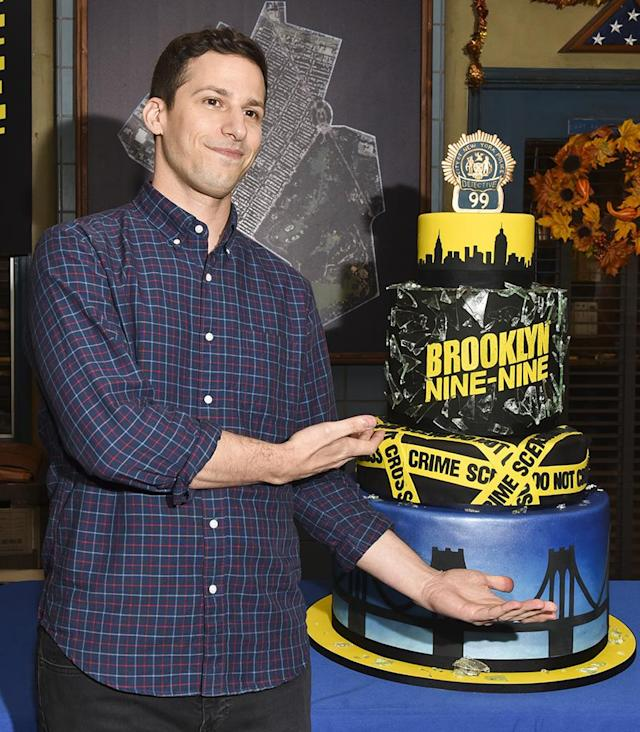 <p>The comedian's <em>Brooklyn Nine-Nine</em> has been making audiences laugh for 99 episodes. Samberg, a producer and star, showed off an elaborate cake cast and crew shared to mark the occasion. (Photo: Rodin Eckenroth/Getty Images) </p>