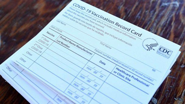 PHOTO: Blank vaccination cards are shown at Lake Elsinore Diamond Stadium on Jan. 16, 2021, in Lake Elsinore, Calif. (Will Lester/Orange County Register via ZUMA Wire via Newscom)