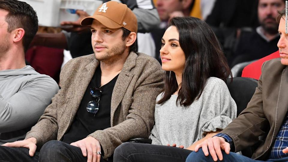 """<p>Ashton Kutcher and Mila Kunis attend a basketball game between the Los Angeles Lakers and the Philadelphia 76ers at Staples Center on January 29, 2019 in Los Angeles, California. </p><div class=""""cnn--image__credit""""><em><small>Credit: Allen Berezovsky/Getty Images / Getty Images</small></em></div>"""