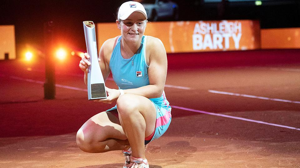 Ash Barty, pictured here after winning the Tennis Grand Prix in Stuttgart.