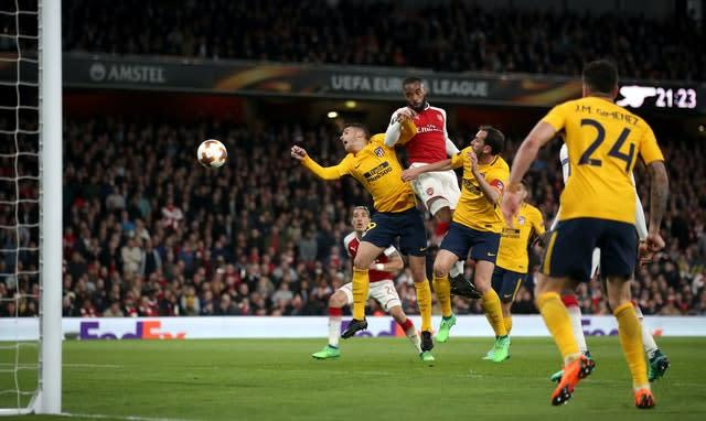 Alexandre Lacazette headed Arsenal in front against Atletico (Nick Potts/PA)