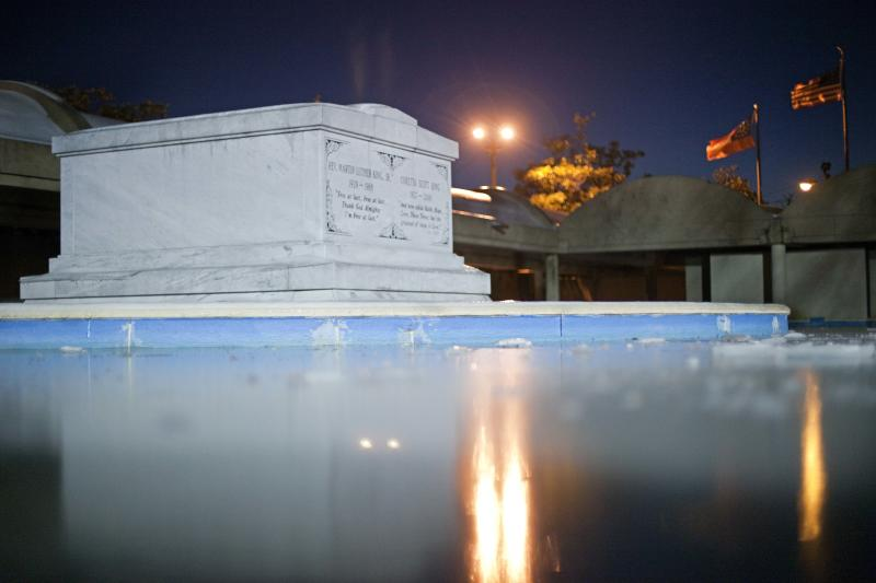 The crypt of Dr. Martin Luther King, Jr., is seen on , Jan. 13, 2011 in Atlanta.  The nation will mark the 25th federal observance of King's birthday on Monday. (AP Photo/David Goldman)