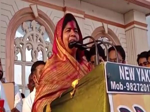 Madhya Pradesh Minister Imarti Devi addressing a rally in Gwalior on Friday.
