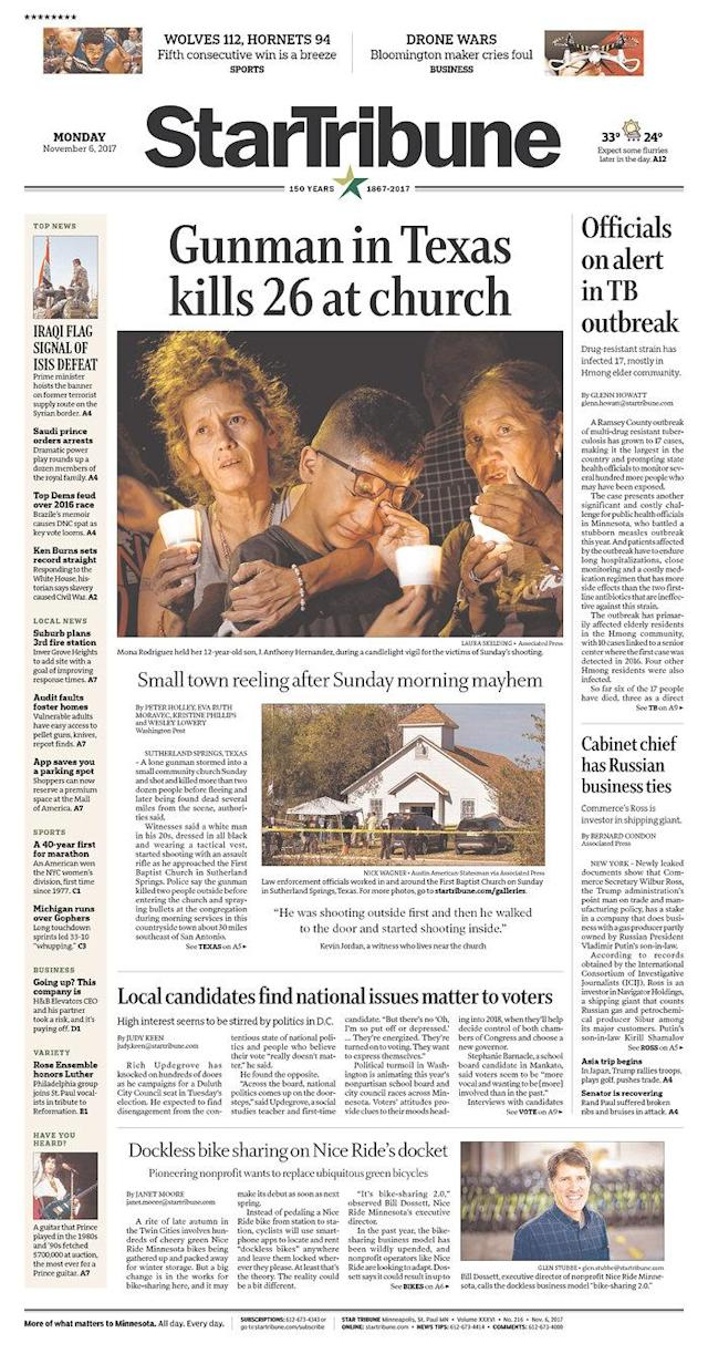 <p>STAR TRIBUNE<br> Published in Minneapolis, Minn. USA. (newseum.org) </p>