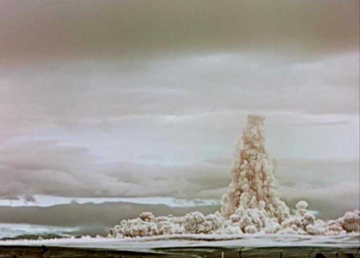 """A cloud of smoke and dust rises in the sky after the Tsar Bomba was detonated in October 1961. <p class=""""copyright"""">Ministry of Medium Machine Building of USSR/Rosatom</p>"""