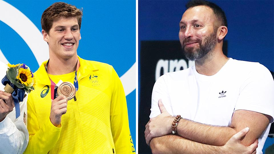 Ian Thorpe (pictured right) during the Olympic qualification and (pictured left) Brendon Smith holding up his bronze medal in Tokyo.