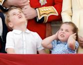 <p>Prince George and Princess Charlotte aren't so sure about all the commotion at Trooping the Colour in 2019. </p>