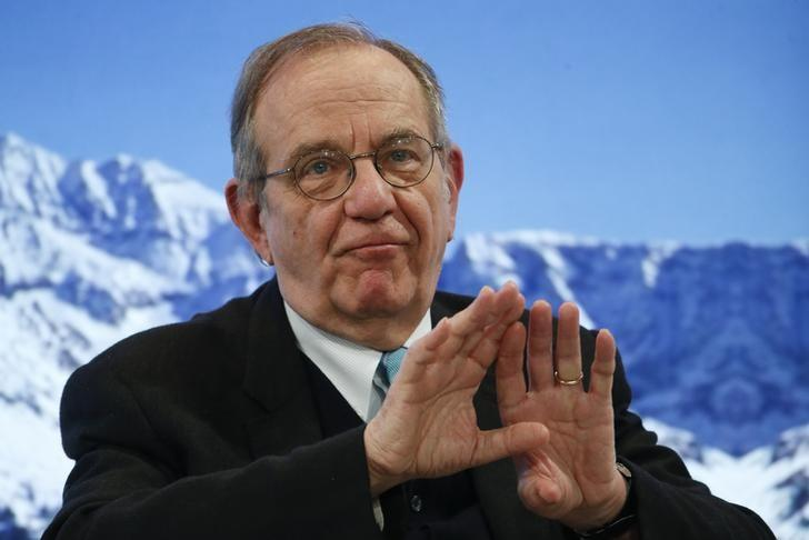 Pier Carlo Padoan, Minister of Economy and Finance of Italy attends the WEF in Davos