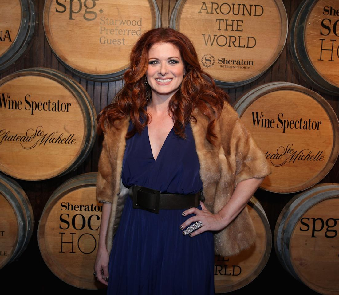 "NEW YORK, NY - MAY 15:  Debra Messing attends Sheraton Hotels & Resorts  Global Roll-Out Of Sheraton Social Hour With A ""Toast Around The World"" celebration on May 15, 2013 in New York City.  (Photo by Donald Bowers/Getty Images for Sheraton Hotels & Resorts)"