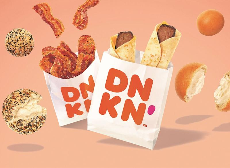 dunkin snack items mini bagels bacon steak wrap