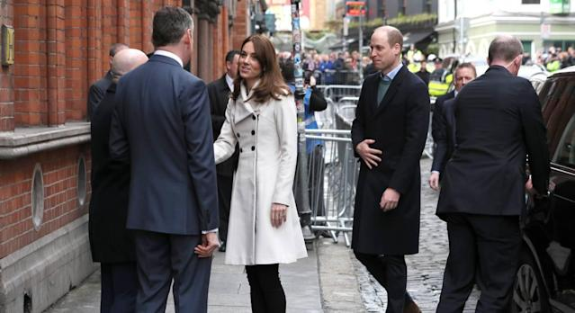 Kate, 38, arrives at Jigsaw in Dublin wearing an old Reiss coat. (PA)