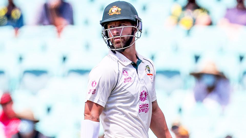Matthew Wade (pictured) walking out after being dismissed.