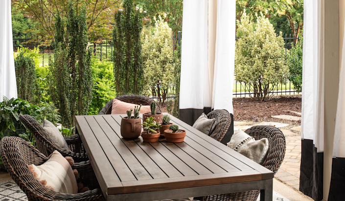 Start with an idea, then size your outdoor furniture to fit the space, Susan Hill of Susan Hill Interior Design said.