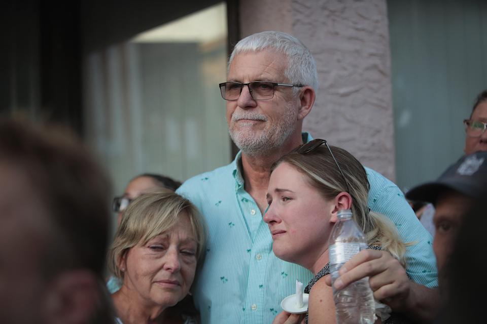 Family members of shooting victim Logan Turner attend a memorial service in the Oregon District after Connor Betts opened fire with a AR-15 style rifle killing nine people.