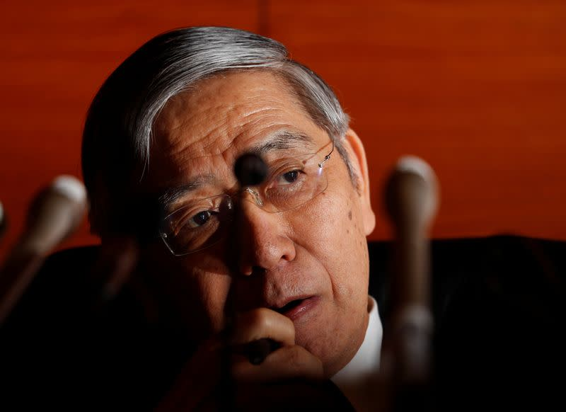 Bank of Japan (BOJ) Governor Haruhiko Kuroda attends a news conference at the BOJ headquarters in Tokyo