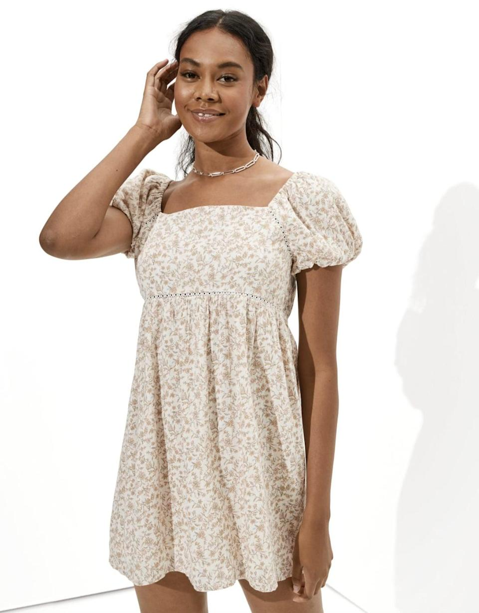 <p>For a dress that's lightweight and easy to move in, the <span>AE Puff-Sleeve Babydoll Mini Dress</span> ($37, originally $50) is your answer. Complete the look with a herringbone necklace and some barely there sandals. </p>
