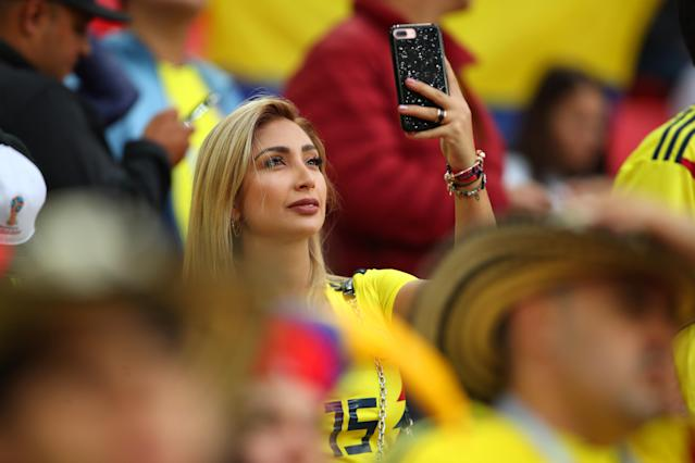 <p>A female fan of Colombia looks on prior to the 2018 FIFA World Cup Russia Round of 16 match between Colombia and England at Spartak Stadium on July 3, 2018 in Moscow, Russia. (Photo by Robbie Jay Barratt – AMA/Getty Images) </p>
