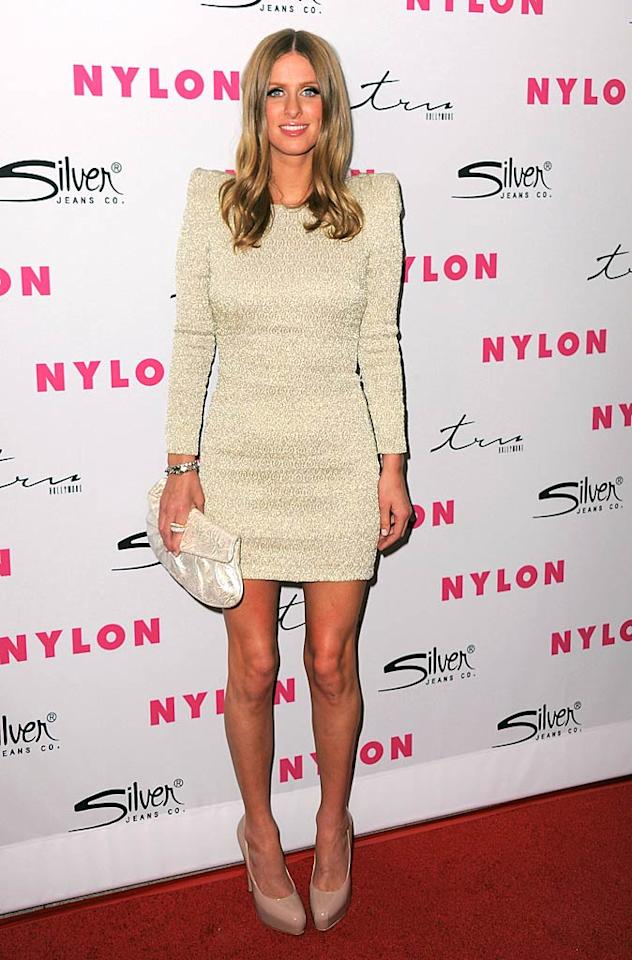 """Kyle's niece, socialite Nicky Hilton, looked a little uncomfortable in her cream mini dress. Do you think the shoulder pads were weighing her down? Jordan Strauss/<a href=""""http://www.wireimage.com"""" target=""""new"""">WireImage.com</a> - March 24, 2011"""