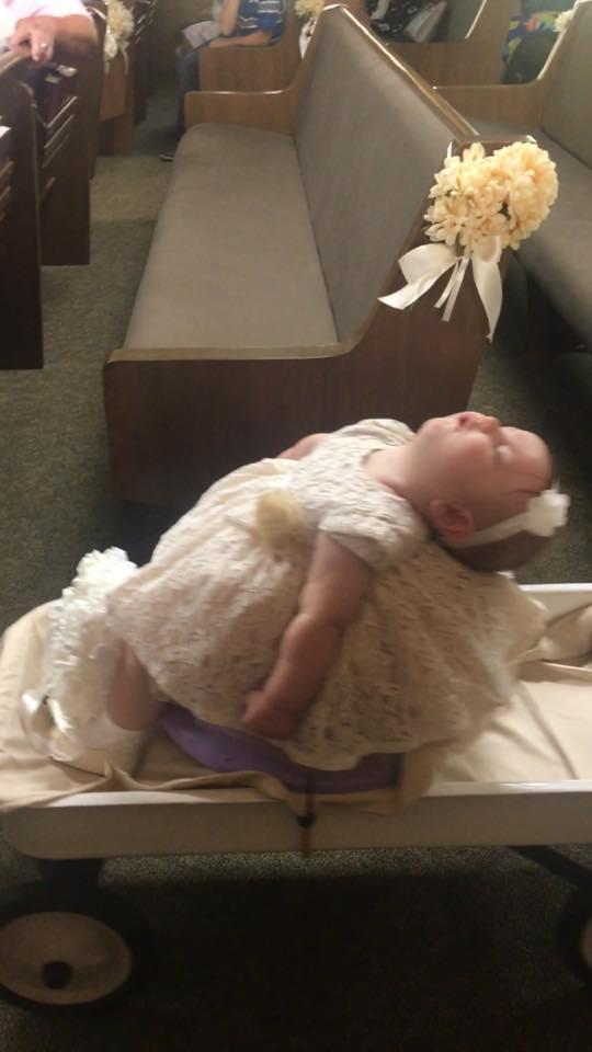 Little Rugbie sweetly snoozing during her flower girl duties. (Photo: Amber Morman)