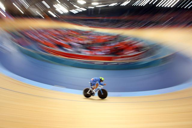 Walter Fernando Perez of Argentina competes in the Men's Omnium Track Cycling 1km Time Trial on Day 9 of the London 2012 Olympic Games at Velodrome on August 5, 2012 in London, England. (Photo by Cameron Spencer/Getty Images)