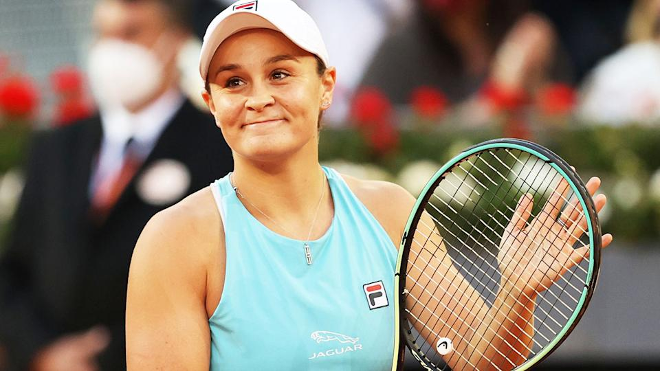 Ash Barty, pictured here celebrating her victory over Iga Swiatek at the Madrid Open.