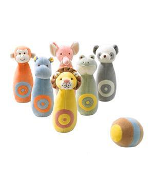 "<div class=""caption-credit""> Photo by: giggle.com</div><b>Jungle Bowling Set</b> <p> It's never too early to hit the bowling alley. These organic pins bring the most adorable players (lion, monkey, elephant) to your playroom lanes. <br> <br> <b>To buy:</b> $50, <a href=""http://www.giggle.com/gifts-keepsakes/baby-shower-gifts/Jungle-Bowling-Set-Organic-Cotton/MY28212,default,pd.html?start=3&cgid=giggle&q=bowling"" rel=""nofollow noopener"" target=""_blank"" data-ylk=""slk:giggle.com"" class=""link rapid-noclick-resp"">giggle.com</a>. </p>"