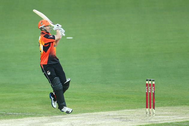Adam Voges of the Scorchers bats during the Big Bash League match between the Hobart Hurricanes and the Perth Scorchers at Blundstone Arena on January 1, 2013 in Hobart, Australia.  (Photo by Robert Cianflone/Getty Images)