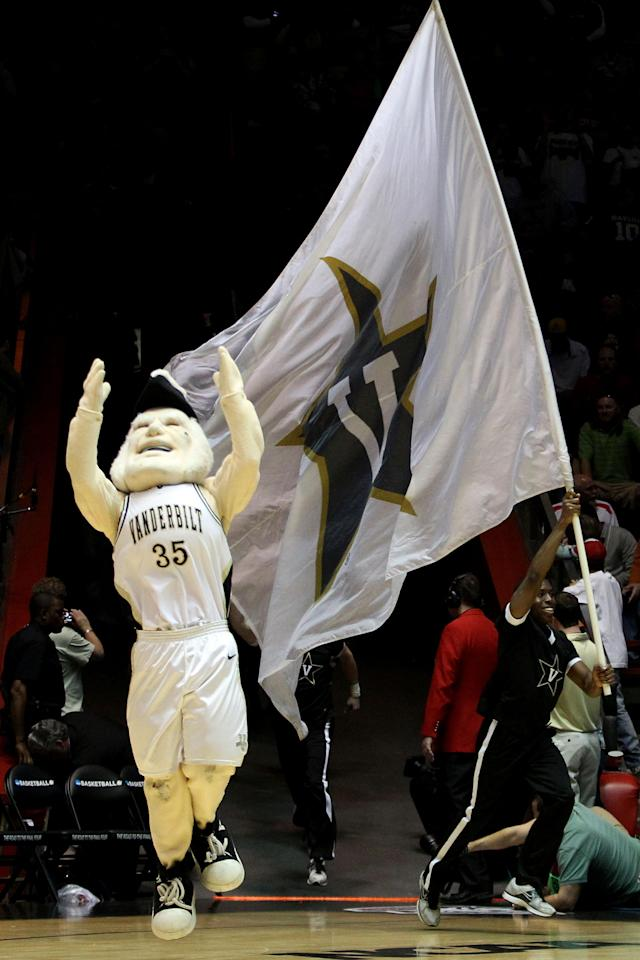 ALBUQUERQUE, NM - MARCH 17: The Vanderbilt Commodores mascot 'Mr. C.' runs onto the court at the start of the game against the Wisconsin Badgers during the third round of the 2012 NCAA Men's Basketball Tournament at The Pit on March 17, 2012 in Albuquerque, New Mexico. (Photo by Christian Petersen/Getty Images)