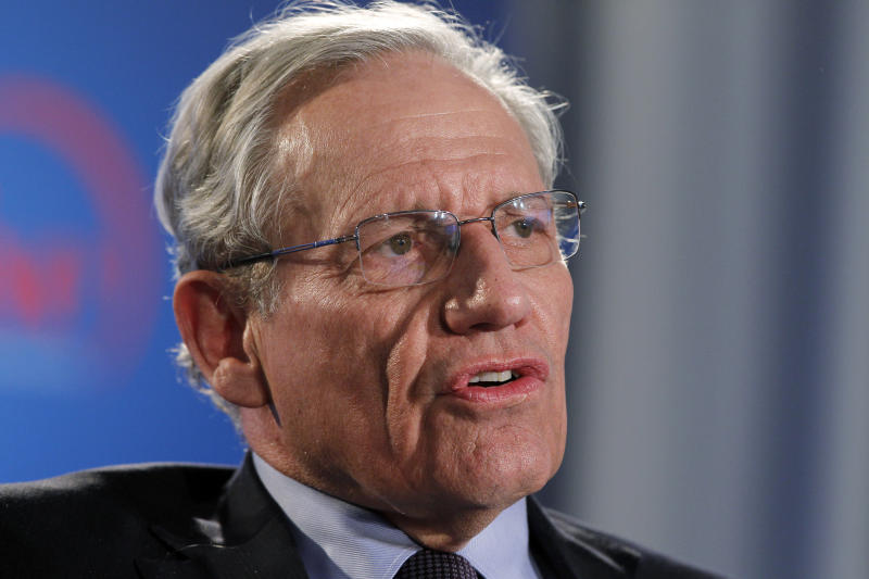 "FILE - This June 11, 2012 file photo shows former Washington Post reporter Bob Woodward speaking during an event to commemorate the 40th anniversary of Watergate in Washington. Woodward says top staffers in President Donald Trump's administration ""are not telling the truth"" when they deny incendiary quotes about Trump attributed to them in his new book.  (AP Photo/Alex Brandon, file)"