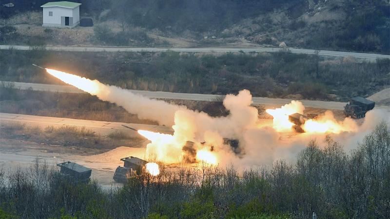 South Korea and the US held joint military exercises near the boarder with North Korea. Photo: Kyoda