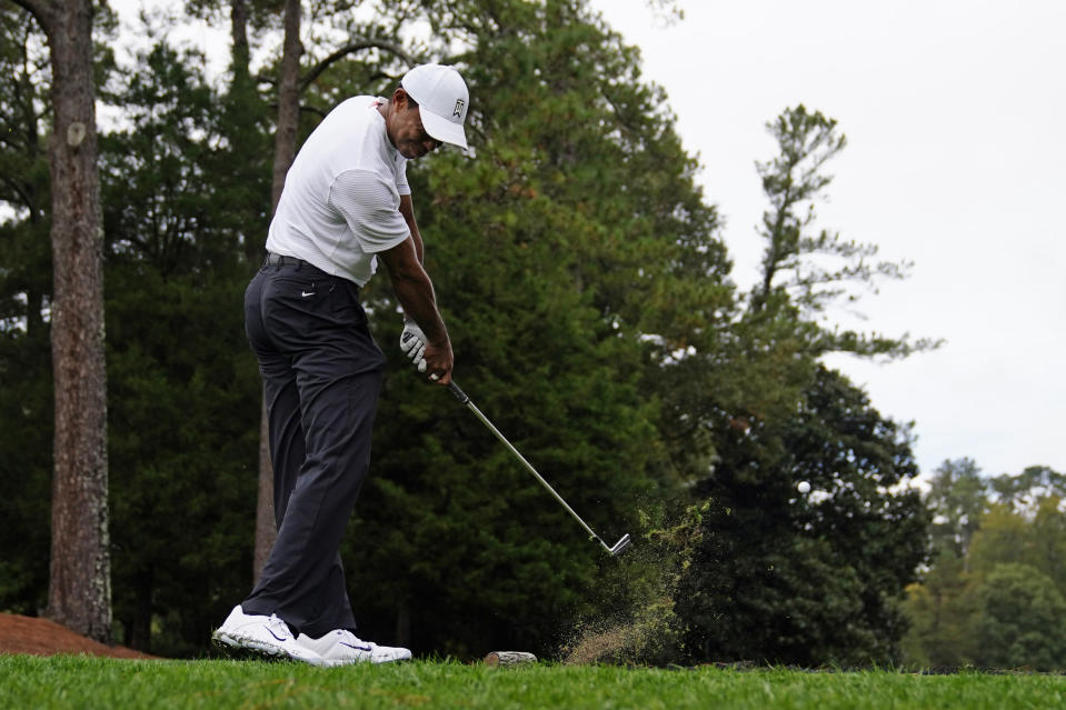 Tiger Woods tees off on the sixth hole during a practice round for the Masters golf tournament Wednesday, Nov. 11, 2020, in Augusta, Ga. (AP Photo/Matt Slocum)
