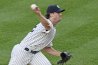 New York Yankees starting pitcher Gerrit Cole delivers during the first inning of a baseball game against the Philadelphia Phillies, Monday, Aug. 3, 2020, at Yankee Stadium in New York. (AP Photo/Kathy Willens)
