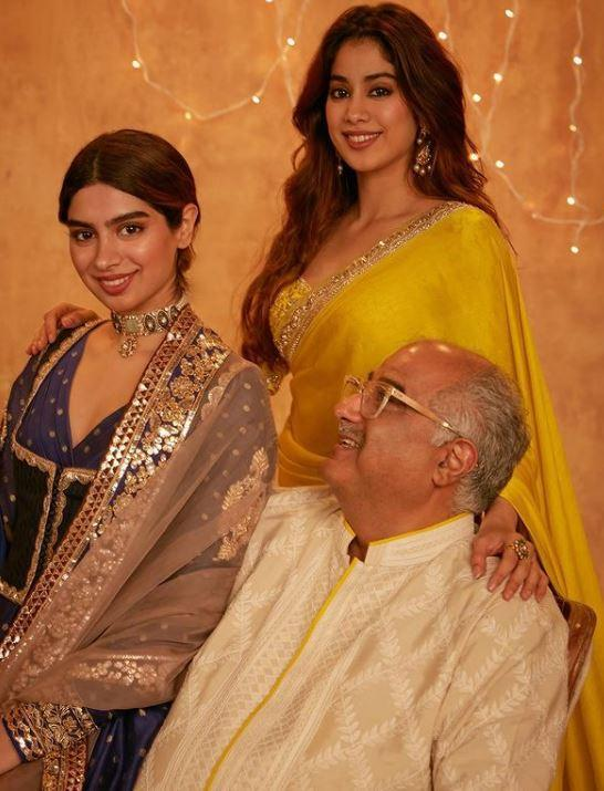 Janhvi Kapoor and Khushi Kapoor with their father