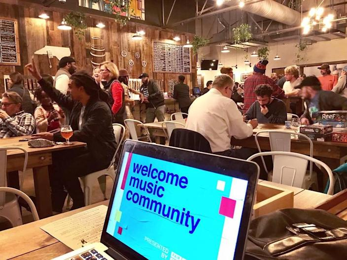 Before COVID-19, Fair Play Music Equity Initiative hosted a Music Community Hang events around Charlotte, like this one at Divine Barrel Brewing. Events were designed to expose participants to a more diverse group of local music industry professionals. Hangs are now digital.