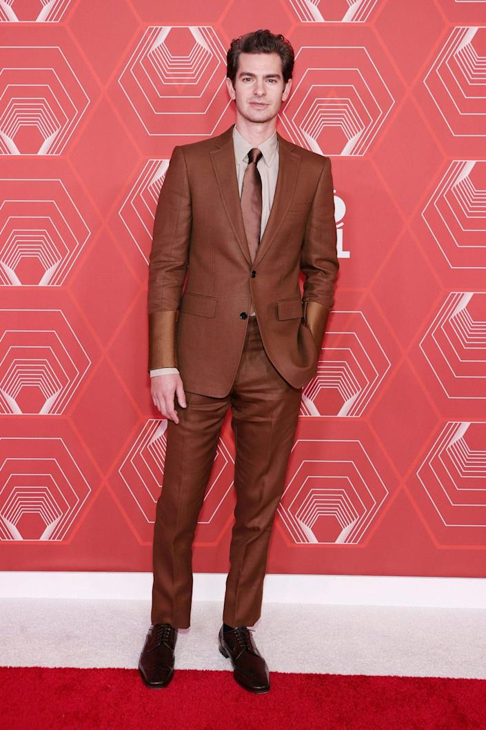<p>Actor Andrew Garfield wore a brown suit on the red carpet of the 2021 Tony Awards. </p>
