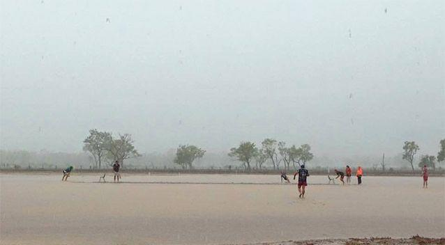 There were no rain delays in this cricket match at Blackall. Photo: Cassie Turner/Facebook